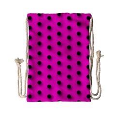 Hot Pink Black Polka-dot  Drawstring Bag (Small)