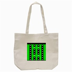Florescent Green Black Polka-dot  Tote Bag (Cream)