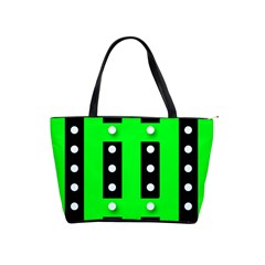 Florescent Green Black Polka-dot  Shoulder Handbags