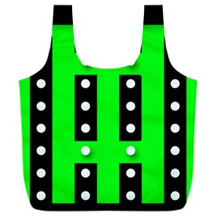 Florescent Green Black Polka-dot  Full Print Recycle Bags (L)