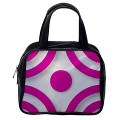 Florescent Pink White abstract  Classic Handbags (One Side)