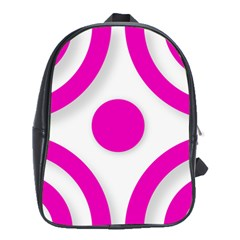 Florescent Pink White abstract  School Bags (XL)