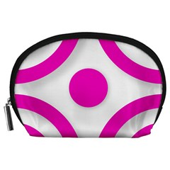 Florescent Pink White abstract  Accessory Pouches (Large)
