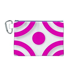 Florescent Pink White abstract  Canvas Cosmetic Bag (M)