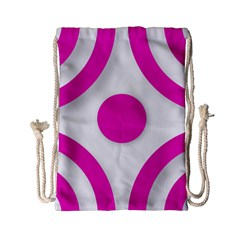 Florescent Pink White abstract  Drawstring Bag (Small)