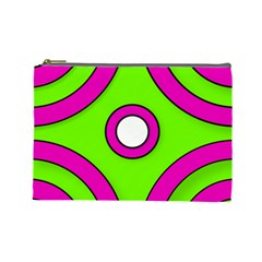 Neon Green Black Pink Abstract  Cosmetic Bag (Large)