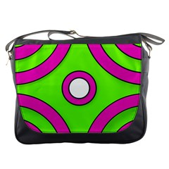 Neon Green Black Pink Abstract  Messenger Bags