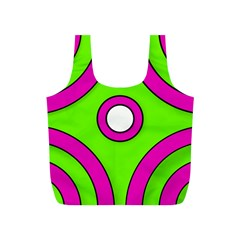 Neon Green Black Pink Abstract  Full Print Recycle Bags (s)