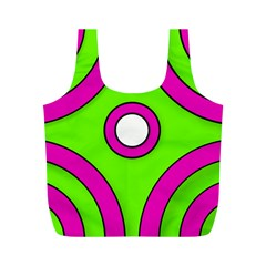 Neon Green Black Pink Abstract  Full Print Recycle Bags (m)