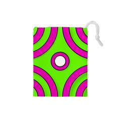 Neon Green Black Pink Abstract  Drawstring Pouches (Small)