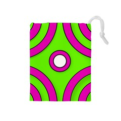 Neon Green Black Pink Abstract  Drawstring Pouches (medium)