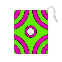 Neon Green Black Pink Abstract  Drawstring Pouches (large)