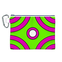 Neon Green Black Pink Abstract  Canvas Cosmetic Bag (L)