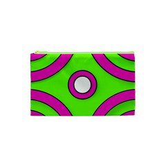 Neon Green Black Pink Abstract  Cosmetic Bag (xs)