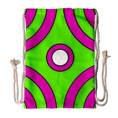 Neon Green Black Pink Abstract  Drawstring Bag (large)