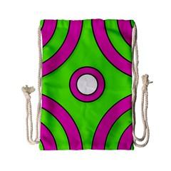 Neon Green Black Pink Abstract  Drawstring Bag (Small)