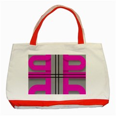 Florescent Pink Grey Abstract  Classic Tote Bag (red)