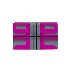 Florescent Pink Grey Abstract  Cosmetic Bag (Small)