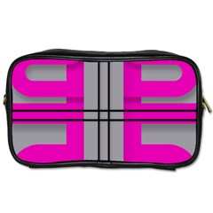 Florescent Pink Grey Abstract  Toiletries Bags 2-Side