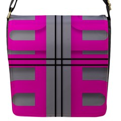 Florescent Pink Grey Abstract  Flap Messenger Bag (S)