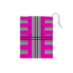 Florescent Pink Grey Abstract  Drawstring Pouches (Small)