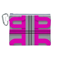 Florescent Pink Grey Abstract  Canvas Cosmetic Bag (L)