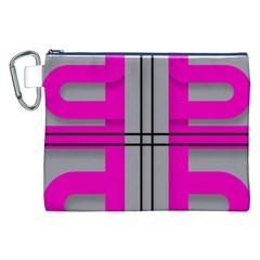 Florescent Pink Grey Abstract  Canvas Cosmetic Bag (XXL)