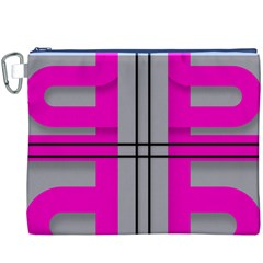Florescent Pink Grey Abstract  Canvas Cosmetic Bag (XXXL)