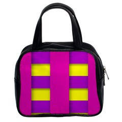 Florescent Pink Purple Abstract  Classic Handbags (2 Sides)