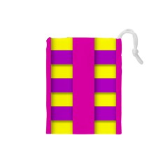 Florescent Pink Purple Abstract  Drawstring Pouches (Small)