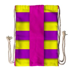 Florescent Pink Purple Abstract  Drawstring Bag (Large)