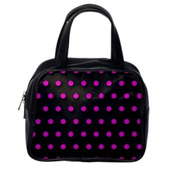 Pink Grey Polka Dot  Classic Handbags (one Side)