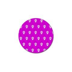 Skull Pattern Hot Pink Golf Ball Marker