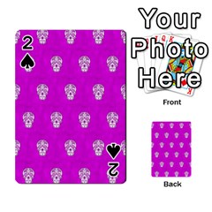 Skull Pattern Hot Pink Playing Cards 54 Designs