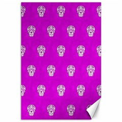 Skull Pattern Hot Pink Canvas 12  x 18