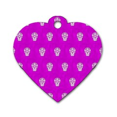 Skull Pattern Hot Pink Dog Tag Heart (Two Sides)