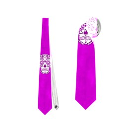Skull Pattern Hot Pink Neckties (Two Side)
