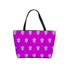 Skull Pattern Hot Pink Shoulder Handbags