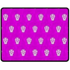 Skull Pattern Hot Pink Fleece Blanket (Medium)