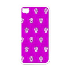 Skull Pattern Hot Pink Apple iPhone 4 Case (White)