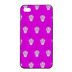 Skull Pattern Hot Pink Apple iPhone 4/4s Seamless Case (Black)