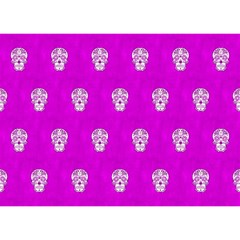 Skull Pattern Hot Pink Birthday Cake 3d Greeting Card (7x5)