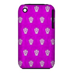 Skull Pattern Hot Pink Apple iPhone 3G/3GS Hardshell Case (PC+Silicone)