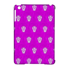 Skull Pattern Hot Pink Apple iPad Mini Hardshell Case (Compatible with Smart Cover)