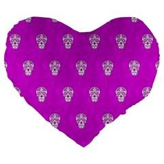 Skull Pattern Hot Pink Large 19  Premium Heart Shape Cushions