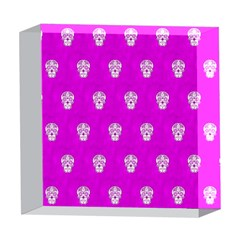 Skull Pattern Hot Pink 5  x 5  Acrylic Photo Blocks