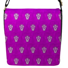 Skull Pattern Hot Pink Flap Messenger Bag (S)