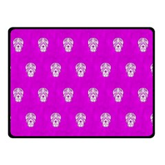 Skull Pattern Hot Pink Double Sided Fleece Blanket (Small)
