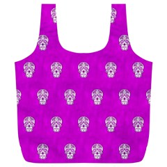 Skull Pattern Hot Pink Full Print Recycle Bags (l)