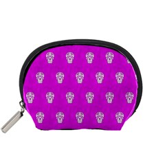 Skull Pattern Hot Pink Accessory Pouches (small)
